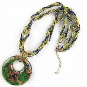 Big exaggerated nation wind restoring ancient ways coloured glaze necklace